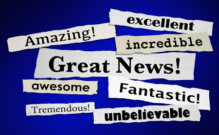 Great News Good Announcement Big Positive Result News Headlines 3d Illustration