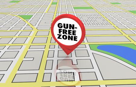 Gun Free Zone No Shooting Violence Map Pin 3d Illustration