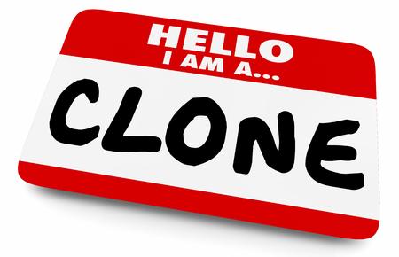 Hola, soy un clon, copia duplicada, etiqueta de nombre, etiqueta, ilustración 3d