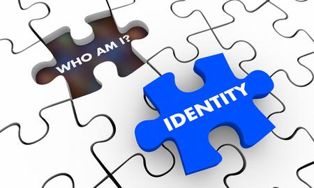 Identidad, quién soy, rompecabezas, piezas, 3d, ilustración