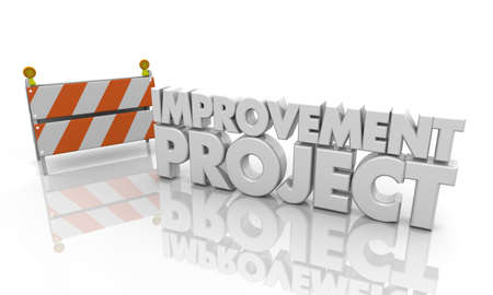 Improvement Project Road Barricade Sign 3d Illustration