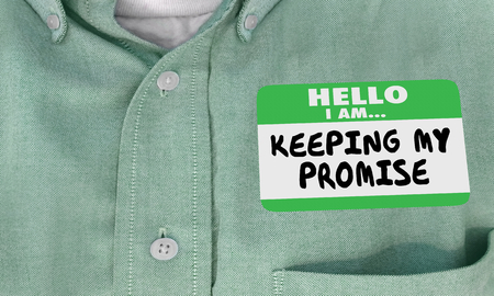 Keeping My Promise Hello Name Tag Sticker 3d Illustration