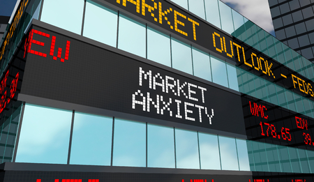 Market Anxiety Stock Ticker Building 3d Illustration