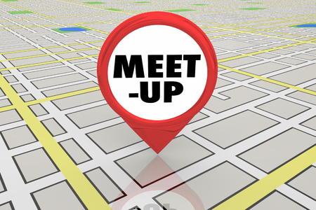 Meet-Up Place Location Meeting Spot Map Pin 3d Illustration Stockfoto