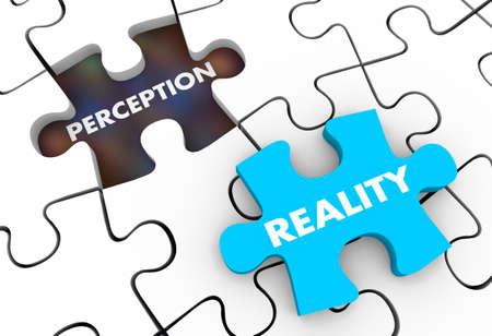 Perception Vs Reality Puzzle Pieces 3d Illustration Foto de archivo