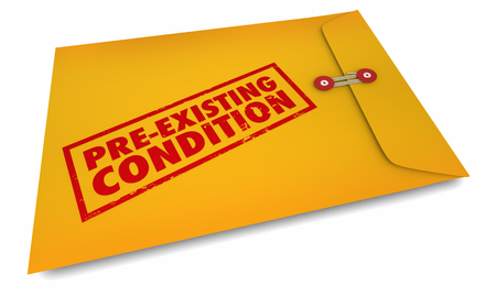 Pre-Existing Conditions Yellow Envelope Stamped 3d Illustration