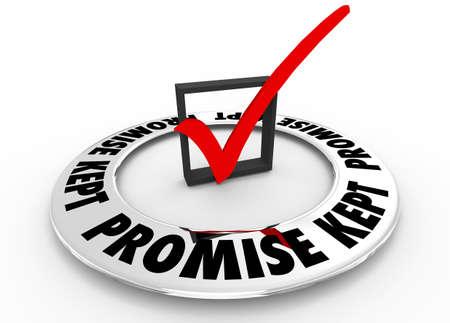 Promise Kept Guarantee Check Box Mark 3d Illustration