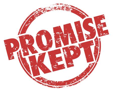 Promise Kept Round Red Stamp Grunge Words Illustration