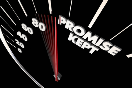 Promise Kept Speedometer Pledge Honored 3d Illustration Stock Photo
