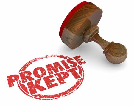 Promise Kept Stamp Round Red Words 3d Illustration Banco de Imagens