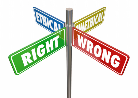 Correcto, incorrecto, ético, no ético, calle, letreros, 3d, ilustración Foto de archivo
