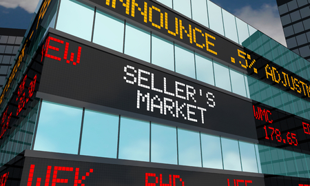 Sellers Market 3d Ticker Wall Street Stock High Prices Illustration