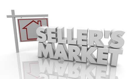 Sellers Market Home House For Sale Sign 3d Illustration Stock fotó
