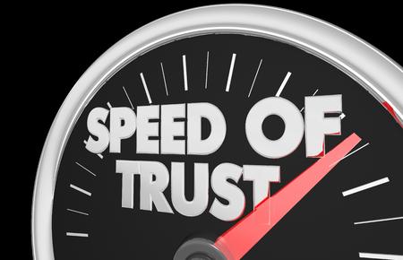 Speed of Trust Speedometer Faith Trustworthy 3d Illustration