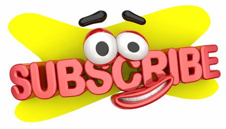 Subscribe Cartoon Face Smile Subscription Now 3d Illustration