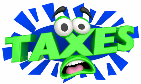 Taxes Due Pay Your Bill Cartoon Face 3d Illustration Imagens