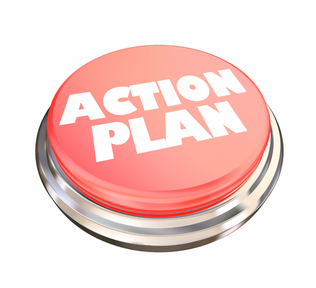 Action Plan Red Button Emergency 3d Illustration Stock Photo