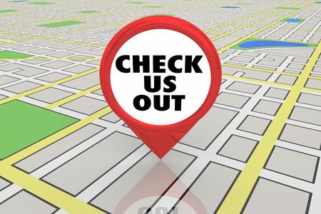 Bekijk ons Zie nieuwe locatie Spot Map Pin 3d illustratie Stockfoto