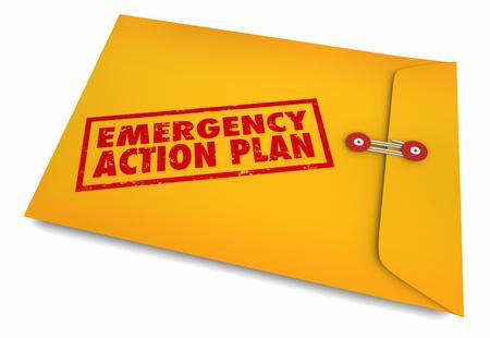 Notfall-Aktionsplan-Umschlag-Management-Vorbereitung 3D-Darstellung Standard-Bild