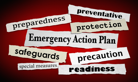 Emergency Action Plan Newspaper Headlines Prepared Ready 3d Illustration 스톡 콘텐츠