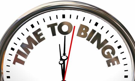 Zeit zum Binge Clock Essen Essen Mahlzeit 3D-Illustration