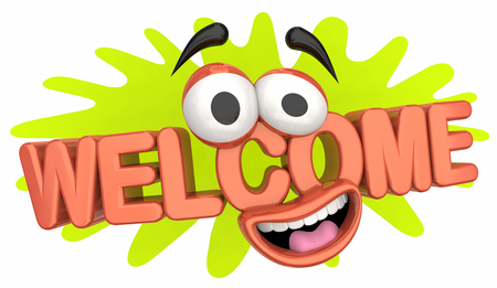Welcome Introduction New Guest Cartoon Face 3d Illustration