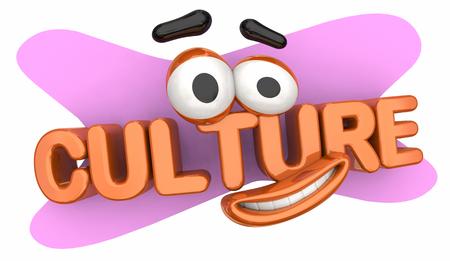 Culture Language Heritage Cartoon Face 3d Illustration