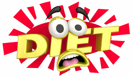 Diet Fear Cartoon Face Afraid Lose Weight 3d Illustration Фото со стока