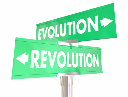 Evolution Vs Revolution Change Two Way Signs 3d Illustration
