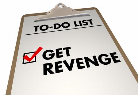 Get Revenge To-Do List Check Box Mark Clipboard 3d Illustration Stock Photo