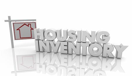 Housing Inventory Home For Sale Market Words 3d Illustration