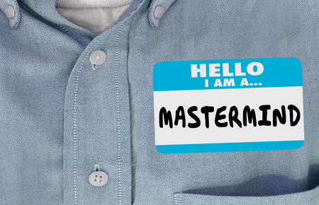 Mastermind Name Tag Sticker Genius Smart Person 3d Illustration Фото со стока