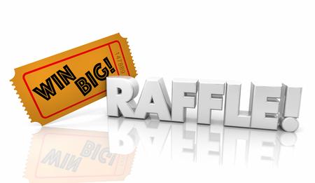 Raffle Ticket Win Big Money Jackpot Word 3d Illustration