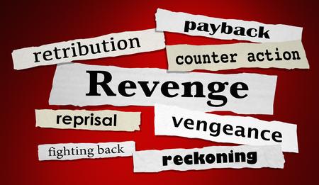Revenge Newspaper Headlines Vengeance Retribution 3d Illustration