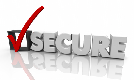 Secure Check Mark Box Protected Word 3d Illustration
