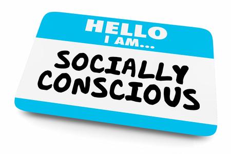 Socially Conscious Name Tag Aware Woke 3d Illustration 스톡 콘텐츠 - 113340780