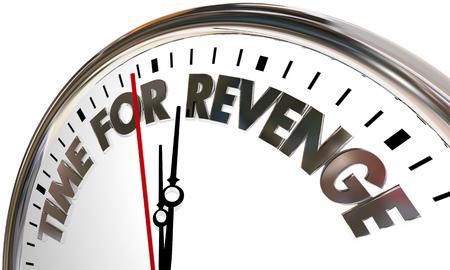 Zeit für Revenge Clock Vergeltung Holen Sie sich sogar 3D-Illustration Standard-Bild
