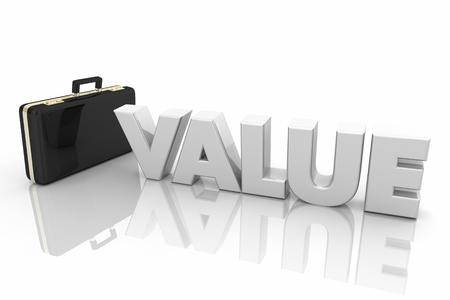 Value Briefcase Sales Benefits Word 3d Illustration
