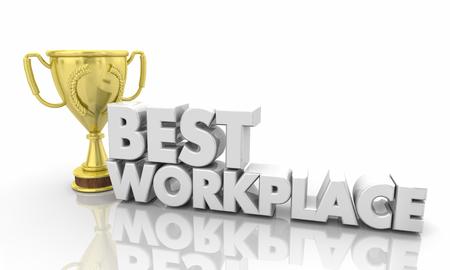 Best Workplace Top Employer Job Trophy 3d Illustration 스톡 콘텐츠