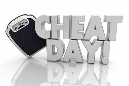Cheat Day Off Diet Scale Lose Weight 3d Illustration Imagens