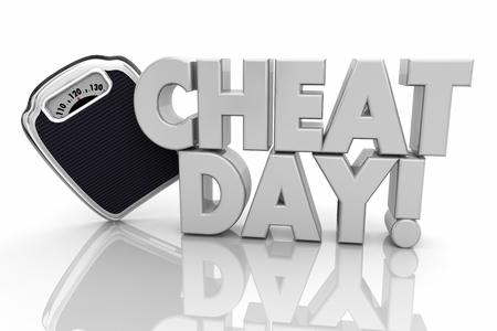Cheat Day Off Diet Scale Lose Weight 3d Illustration Reklamní fotografie