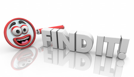 Find It Magnifying Glass Search for Answers Words 3d Illustration Stockfoto - 113340807