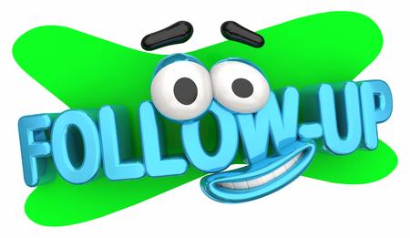 Seguimiento Siguiente paso Visita Dibujos animados Cara Palabras Ilustración 3d