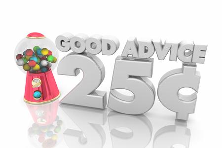 Good Advice 25 Cents Gumball Machine 3d Illustration 스톡 콘텐츠