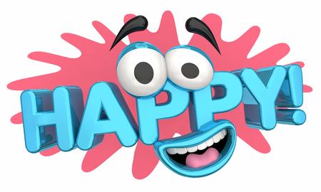 Felice gioia piacere emozione Cartoon Face 3d Illustration Archivio Fotografico