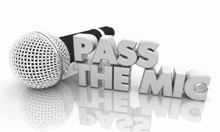 Pass the Microphone Share Communication 3d Illustration Archivio Fotografico - 113340875