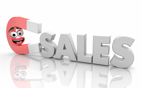 Sales Magnet Attracting New Customers Word 3d Illustration