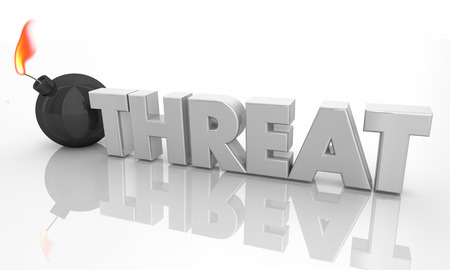 Threat Bomb About to Explode Word 3d Illustration