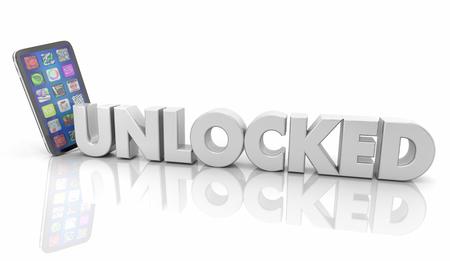 Unlocked Smart Cell Phone Plan Freedom 3d Illustration Stock Illustration - 113340883