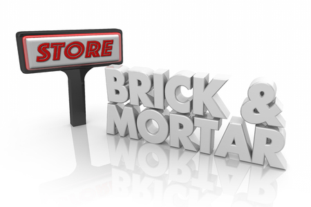 Brick and Mortar Physical Store Business 3d Illustration